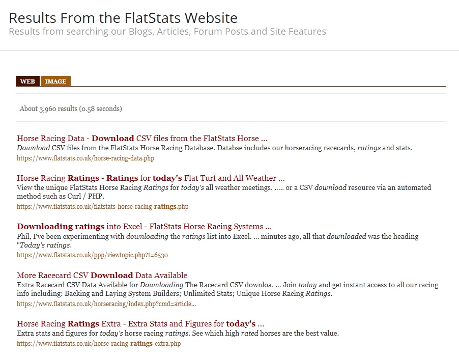Please Use The Search Facility - FlatStats Horse Racing